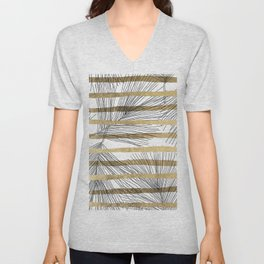 Geometrical black faux gold hand drawn palm tree Unisex V-Neck