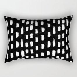 Artistic modern black white paint brushstrokes Rectangular Pillow