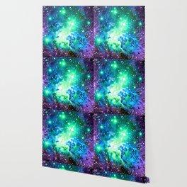 Fox Fur Nebula BRIGHT : Green Blue Purple Galaxy Wallpaper