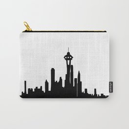 Seattle City Skyline in Black and white Carry-All Pouch