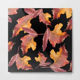 Frozen Leaves On A Black Background #decor #buyart #society6 Metal Print