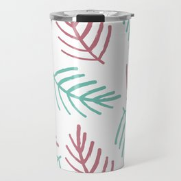 Trendy Pink Teal Hand Painted Christmas Spruce Branches Travel Mug