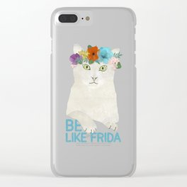 Be like Frida! White cat in flower crown on sky blue Clear iPhone Case