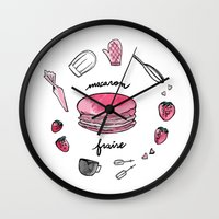 macaron Wall Clocks featuring Macaron Fraise by Fashion Doodles