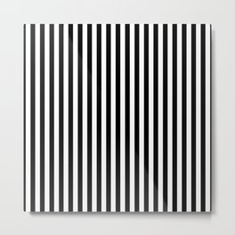 Midnight Black and White Vertical Deck Chair Stripes Metal Print