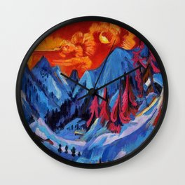Alpine Mountain Landscape Under a Winter Moon by Ernst Ludwig Kirchner Wall Clock
