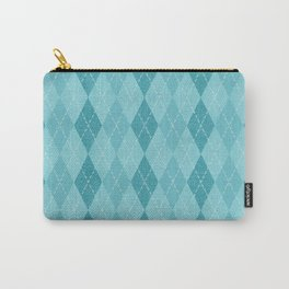 Textured Argyle in Blues Carry-All Pouch