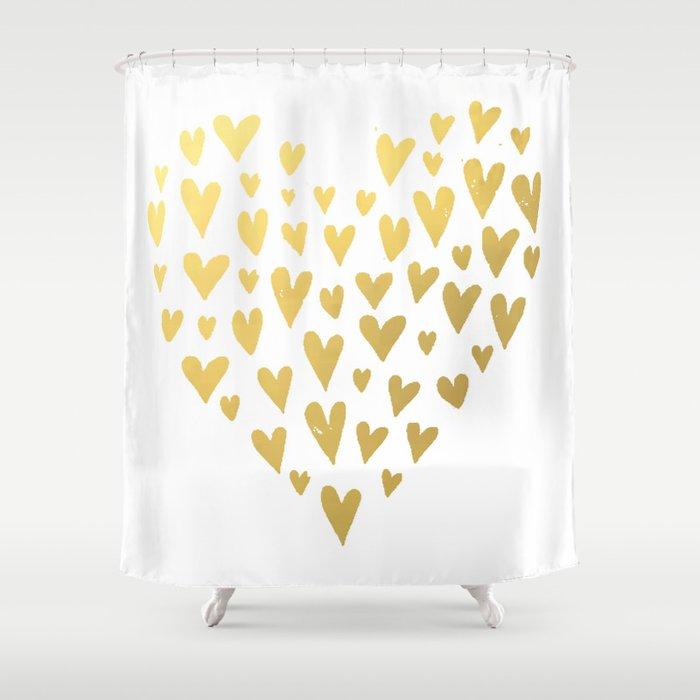 Gold Hearts Shower Curtain