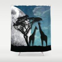 african Shower Curtains featuring African Nights by Bakmann Art