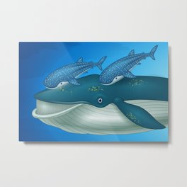 Whale and tow blue Sharks Metal Print