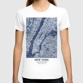 Classic Blue Manhattan Map, New York City T-shirt