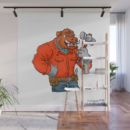 Boar cartoon mascot. Wall Mural