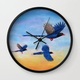 Taiwan Blue Magpies (2) Wall Clock