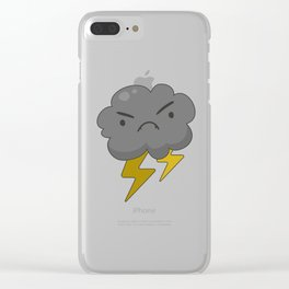 Angry Cloud with Lightning Thunderstorm Clear iPhone Case
