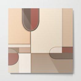 Abstract Art Shapes II Browns Rusts Creams Metal Print
