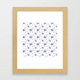 Lilac purple teal watercolor elegant  leaves daisies Framed Art Print