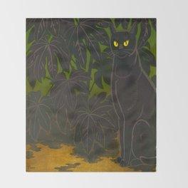 Black Cat yellow eyes Inagaki Tomoo Vintage Japanese Woodblock print, mid century, Moder Cubism Throw Blanket