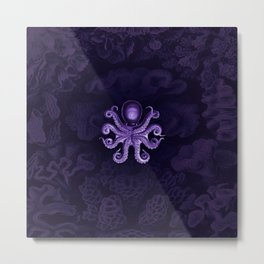 Octopus2 (Purple, Square) Metal Print