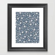 Winter Bloom - in Navy Framed Art Print