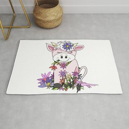 kawaii pink cow eating pretty flowers Rug