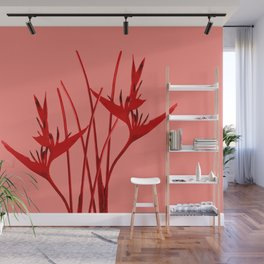 Red Heliconia Flowers Wall Mural