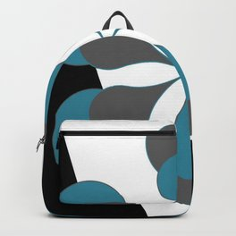 Mid-Century Modern Art 1.4B Grey Aqua Flower Backpack