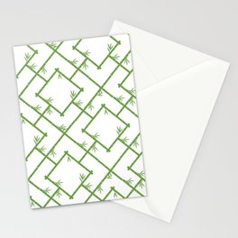 Bamboo Chinoiserie Lattice in White + Green Stationery Cards