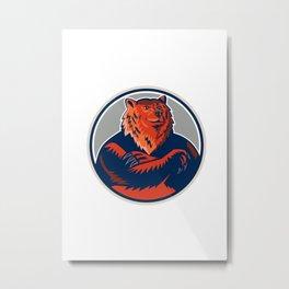Russian Bear Arms Folded Circle Retro Metal Print