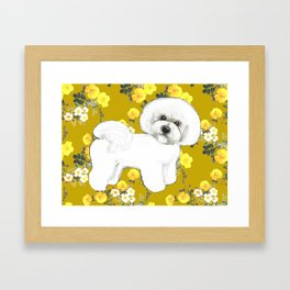 Bichon Frise on Yellow Rose Floral Autumn Gold Framed Art Print