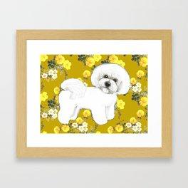 Bichon Frise on Yellow Rose Floral Autumn Gold Framed Art Print