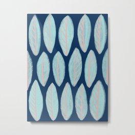 Blue Leaves Navy Background Metal Print