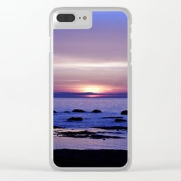 Blue and Purple Sunset on the Sea Clear iPhone Case