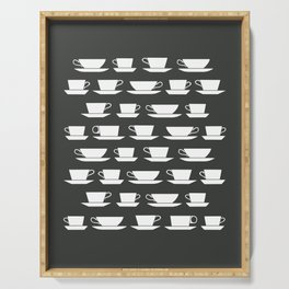 Pattern of Coffee and Tea Cups Serving Tray