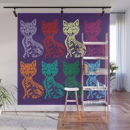 Folk Cats on paper film Wall Mural