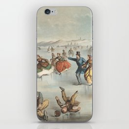 Vintage Central Park Ice Skating Painting (1861) iPhone Skin