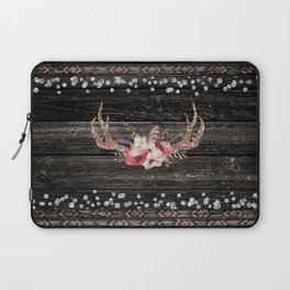 Glam Boho Chic Floral Antlers & Rustic Wood Laptop Sleeve