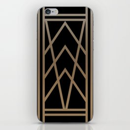 BLACK AND GOLD 2 (abstract art deco geometric) iPhone Skin