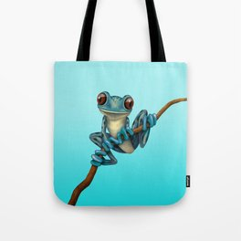 Cute Blue Tree Frog on a Branch Tote Bag