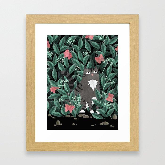 Butterfly Garden (Tabby Cat Version) Framed Art Print