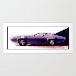 1971 Muscle Car Rendering in Plum Crazy Art Print