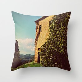 Tuscany Italy Countryside With Villa Throw Pillow