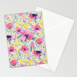 Painterly Watercolor Floral Pink Stationery Cards
