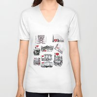 cities V-neck T-shirts featuring Cities 1  by sladja