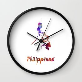 Philippines  in watercolor Wall Clock
