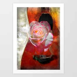 Music and The Pink Rose Art Print