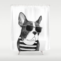 Frenchie Summer Style b&w Shower Curtain