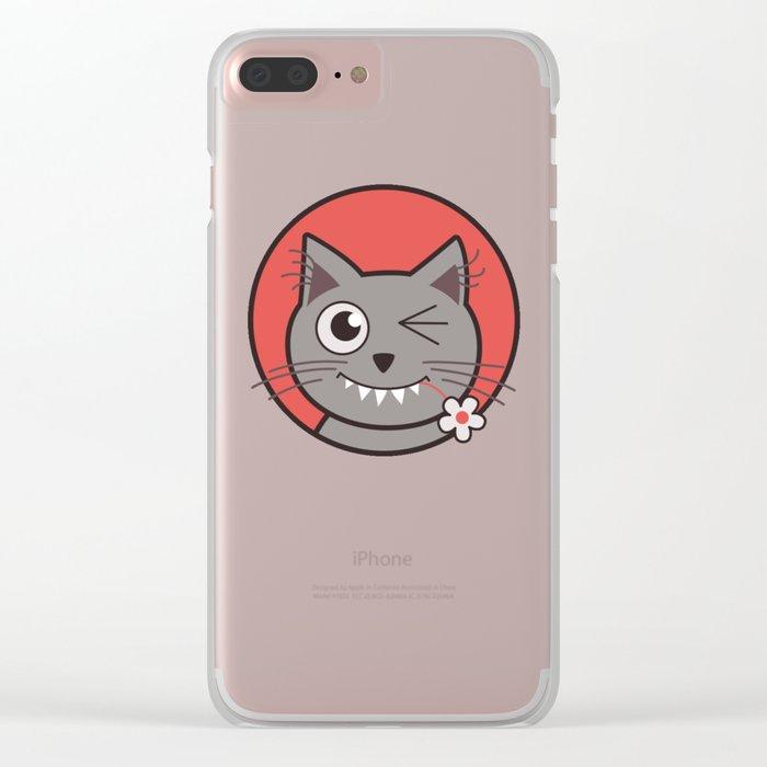 Winking Cartoon Kitty Cat Clear iPhone Case