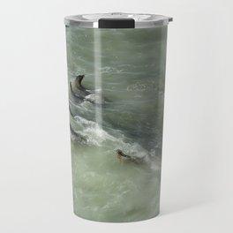 Sea Lions Cavorting in a Green Sea Travel Mug