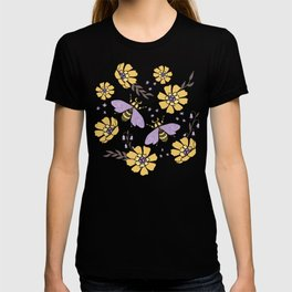 Honey Bees and Flowers - Yellow and Lavender Purple T-shirt