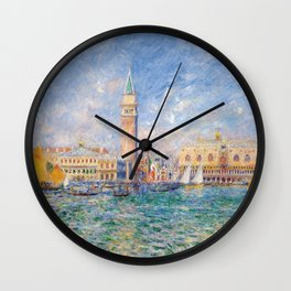 The Palace of the Doge's & St. Mark's Square Venice Italy landscape painting by Pierre Renoir Wall Clock
